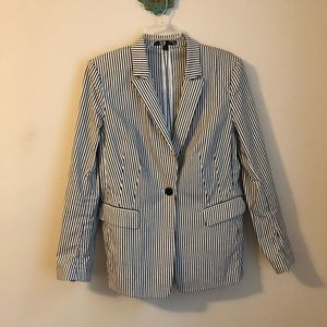 Lafayette 148 • black white striped blazer jacket